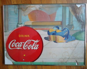 Vintage Framed Coca Cola Lithograph - 1942 Coca Cola poster - Framed advertising - Coca Cola - Coca Cola advertising - Coca Cola swimmer