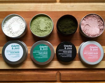 Face Mask Variety Pack, Set of Four / All Natural Detox Clay Mask / Best Facial Mask, Vegan Face Mask, Bentonite Face Mask, Face Mask Set
