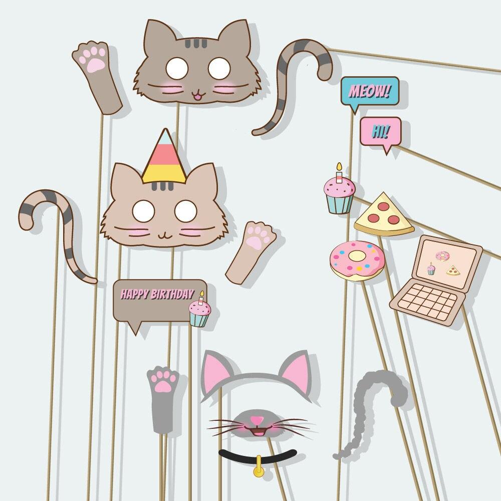 Birthday Party Cat Ears: Cat Mask Cat Birthday Kitty Ears Girl Party Not Pusheen