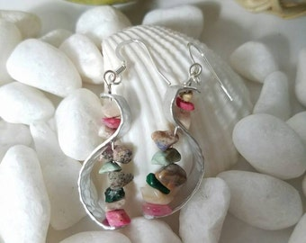 Silver swirl dangle earrings with colorful randomly shaped beads  - ready to ship