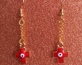 Red Evil Eye Earrings