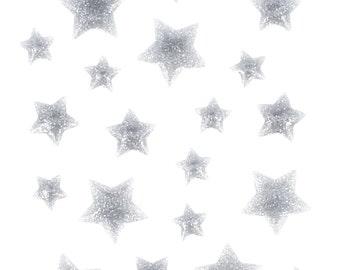 22 pellets silver Enamel stars stickers - Stickers stars glitter - silver glittering stars Star Silver Star E-mail
