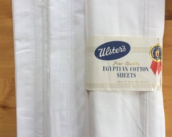 Finest Vintage 50s Egyptian Cotton Sheets 1 Pair Made by Ulsters Unused Dowry Crisp White Linen