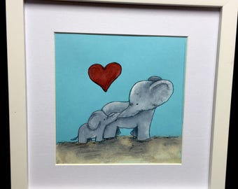 Mother and Child elephant art