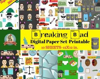 Breaking Bad Digital Paper, Printable Scrapbook Paper, Breaking Bad Characters, AMC Breaking Bad, Better Call Saul, Heisenberg, Walter White