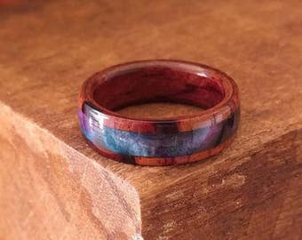 Acrylic Rosewood Ring - Wooden Ring Men Wooden Wedding Band Woman Engagement Ring Wood Anniversary Space Galaxy