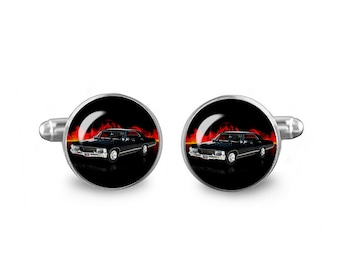 Impala Cuff Links Supernatural Cuff Links 16mm Cufflinks Gift for Men Groomsmen Novelty Cuff links Fandom Jewelry