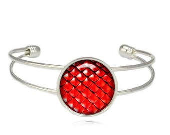 Red Dragon Scales Cuff Bangle Dragon Scales Bracelet