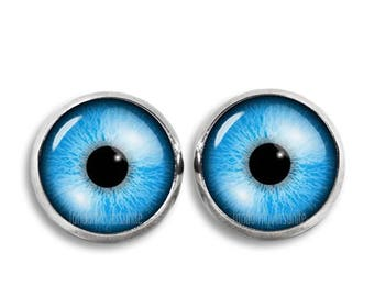 Blue Eyes Stud Earrings Eyes 12mm Earrings Fandom Jewelry Geeky Fangirl Fanboy