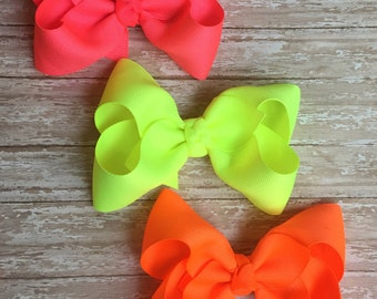 Neon boutique bow, set of 3 or just 1, neon hair bows, neon bows, back to school hair bows