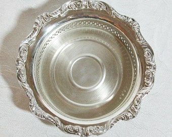 Poole Silver Plate Reticulated Wine Coaster - Old English Pattern