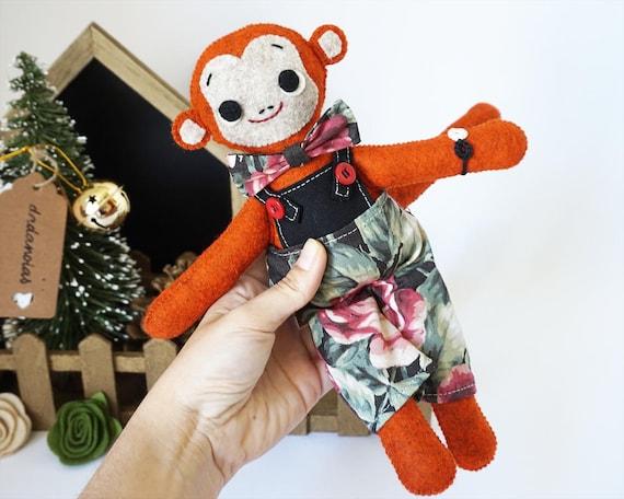 Monkey Mico, Monkey Handmade, Monkey Wool Felt, Monkey Waldorf, Monkey Gift, Monkey Soft Sculpture, Monkey Vintage, Monkey Toy