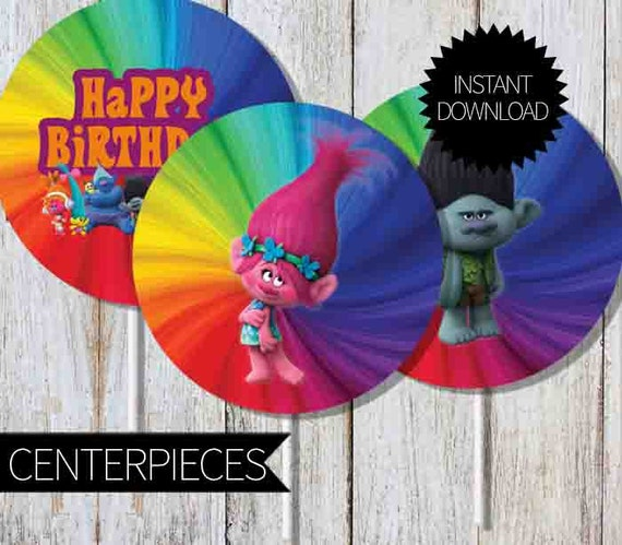 Colorful Dreamwork Trolls Printable Centerpieces