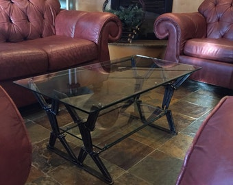 Rail spike coffee table