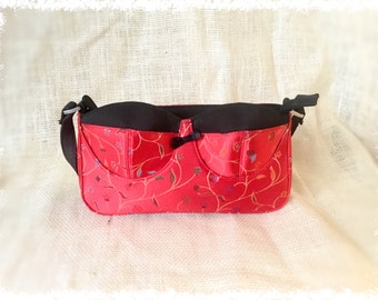 Red & Black Bra Shaped Baguette Style Purse / Clutch Purse / Handled Clutch / 80s Style / FREE SHIPPING to US