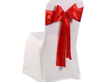 """7""""X108"""" Red Satin Sashes Chair Cover Bow Sash WIDER FULLER BOWS Wedding Party"""