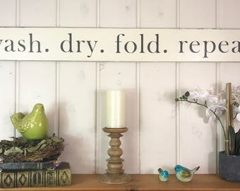wash dry fold repeat sign laundry room sign laundry room decor rustic home - Laundry Room Decor