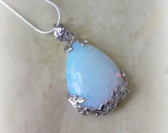 Opalite Cabochon Necklace, Gemstone Necklace, Opalite Necklace, Healing Crystal, Opalite Jewelry, Witchcraft Supply, Witch Jewelry, Wicca