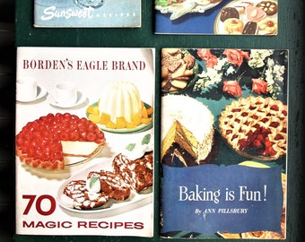 """Lot of 5 Vintage Mid Century Cook Books – Sunsweet, Blue Ribbon, Borden's, Globe """"A1"""", and Pillsbury"""