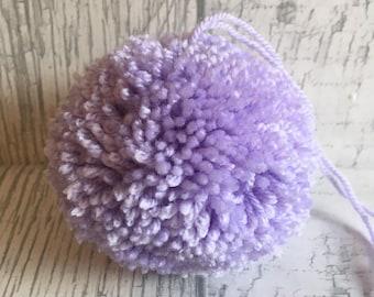 Handmade pom poms pk 6 lilac rugs, decorations garland 7cm