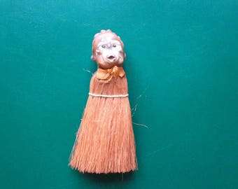 Antique Celluloid Monkey. Crumb Brush. Table Brush. German? C1910s