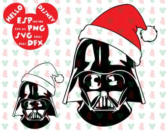 Disney Darth Vader  Christmas hat Clipart - Cut files - Mouse Die Cuts - Svg Dxf Eps Pdf Png - Disney files for Silhouette - Cricut