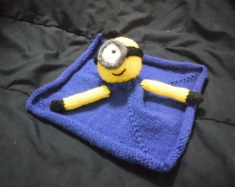 Hand knitted mini minion security blanket
