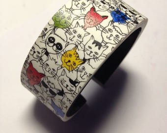 Polymer clay cuff bracelet,gift for her,handmade cuffs,polymer clay cuffs,silkscreen cuffs,cats bracelets