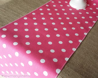 Fuchsia Hot Pink Polka Dot Table Runner Birthday Party Table Centerpiece Home Dining Room Kitchen Decors Pink Linens