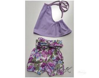 Girls shorts set, toddler girls set, Bloomers and top set, halter neck top, purple, girls shorts,