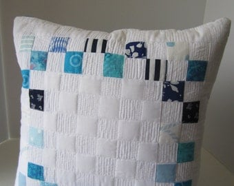 Quilted Toss Pillow, Blue and White Postage Stamp Pillow Cover, Blue Quilted Pillow, White Quilted Pillow Cover, Custom Quilted Pillow