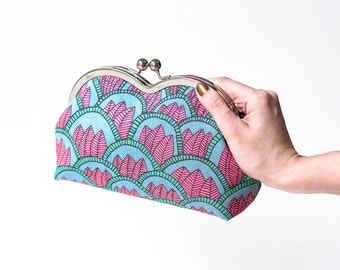 Boho Clutch Bag, Tribal Clutch Purse, Kiss Lock Purse, Metal Frame Clutch, Scandinavian Fabric, Retro, Fuchsia and Turquoise, Gifts for her