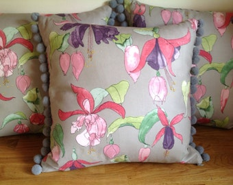 Fuchsia, Floral Cushion with Pad Swaffer Fleur fabric, Pompom Cushion with Concealed Zip
