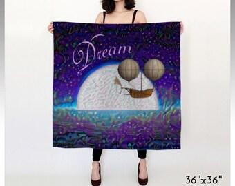 Dream Scarf, Dreamy Scarf, Night Scarf, Moon Scarf, Fantasy Scarf, Fantasy Women's Scarf, Dirigible Scarf, Ocean Scarf, Water Scarf, Women's