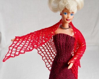 red hand knit lacy shawl for barbie doll