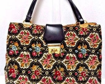 Vintage Needlepoint large tote bag purse