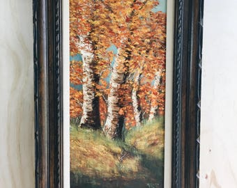 Vintage tree oil painting with carved wood frame