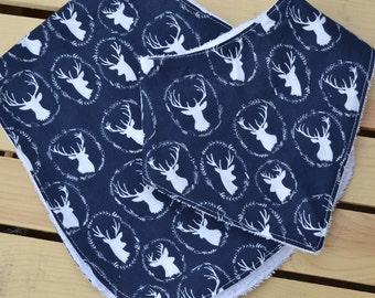 Burp Cloths & Bandana Bib Set.White/Blue Buck Bandana Bib-Deer Bandana Bib Burp Cloth Set -Baby Shower Gift. Blue White Buck Burp Cloth