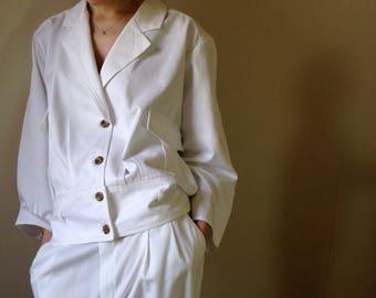 Vintage 1980s white  utility new wave military blouson jacket. Size 8/10/12