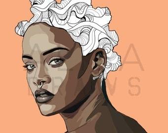 Bad Gal digital print   Rihanna digital art   celebrity portrait