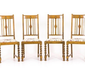 B423 Four Antique Barley Twist Oak Dining Chairs