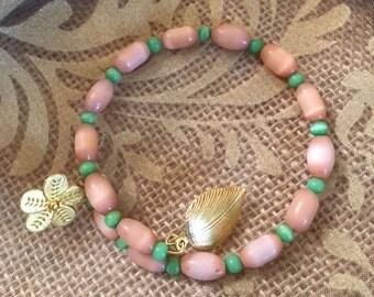 Flower- Peach Cat's Eye and Green Tiger's Eye Bracelet