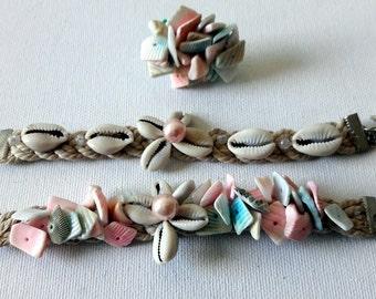 Shells bracelet set, Beach shells woven cuff set, Design Boho style pastel shells on braided cotton rope