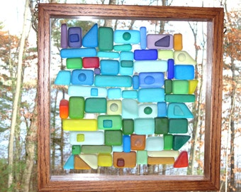 "Oak framed Stained Glass Dalle de Verre window panel with a ""Beach Glass"" look"