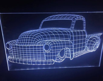 3d Hotrod acrylic illusion LED light VECTOR file only. For laser cutting and engraving!