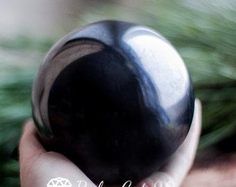 Shungite sphere polished 90 mm, Karelia magic stone, Reiki, EMF Protection, Mineral, Crystal Grid