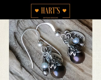 Chocolate Black Pearl Sterling Silver Earrings