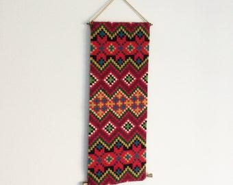 Vintage Needlepoint Wall Hanging Banner| Kilim Design | Needlework | Retro | Boho