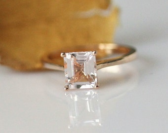Simple Ring!5x7mm Emerald Cut Morganite Ring 14k Rose Gold Engagement Ring Morganite Anniversary Ring Bridal Wedding Ring Promise Ring