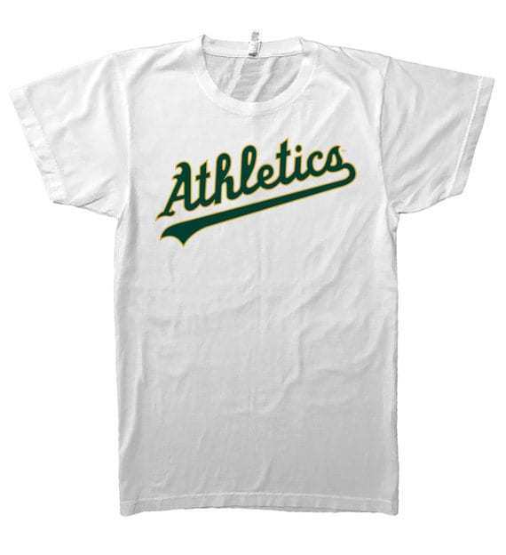 Oakland athletics jersey logo white t shirt green and yellow for Water based t shirt printing